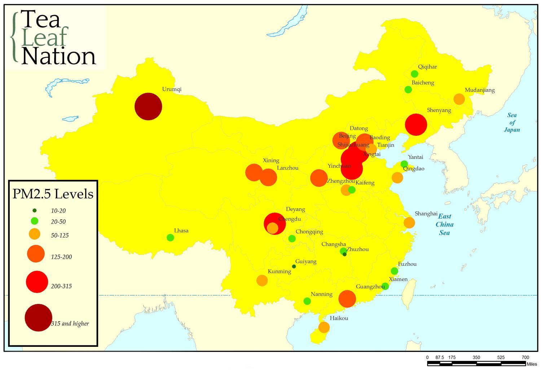 Kina Forurening Kort Forurening Kort Kina Ostlige Asien Asien