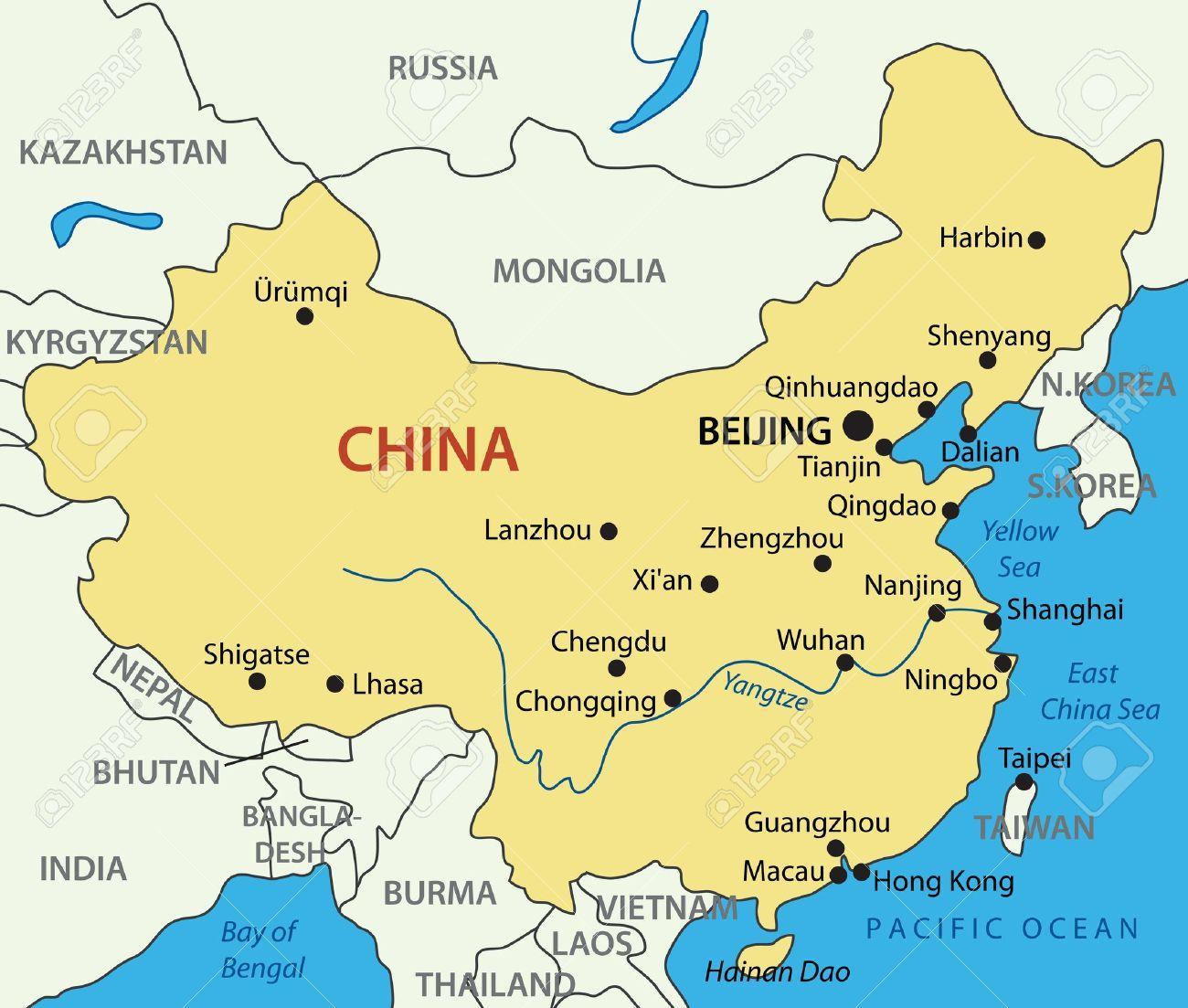 Kort Over Kina Gule Hav Gule Hav Kina Kort Ostlige Asien Asien