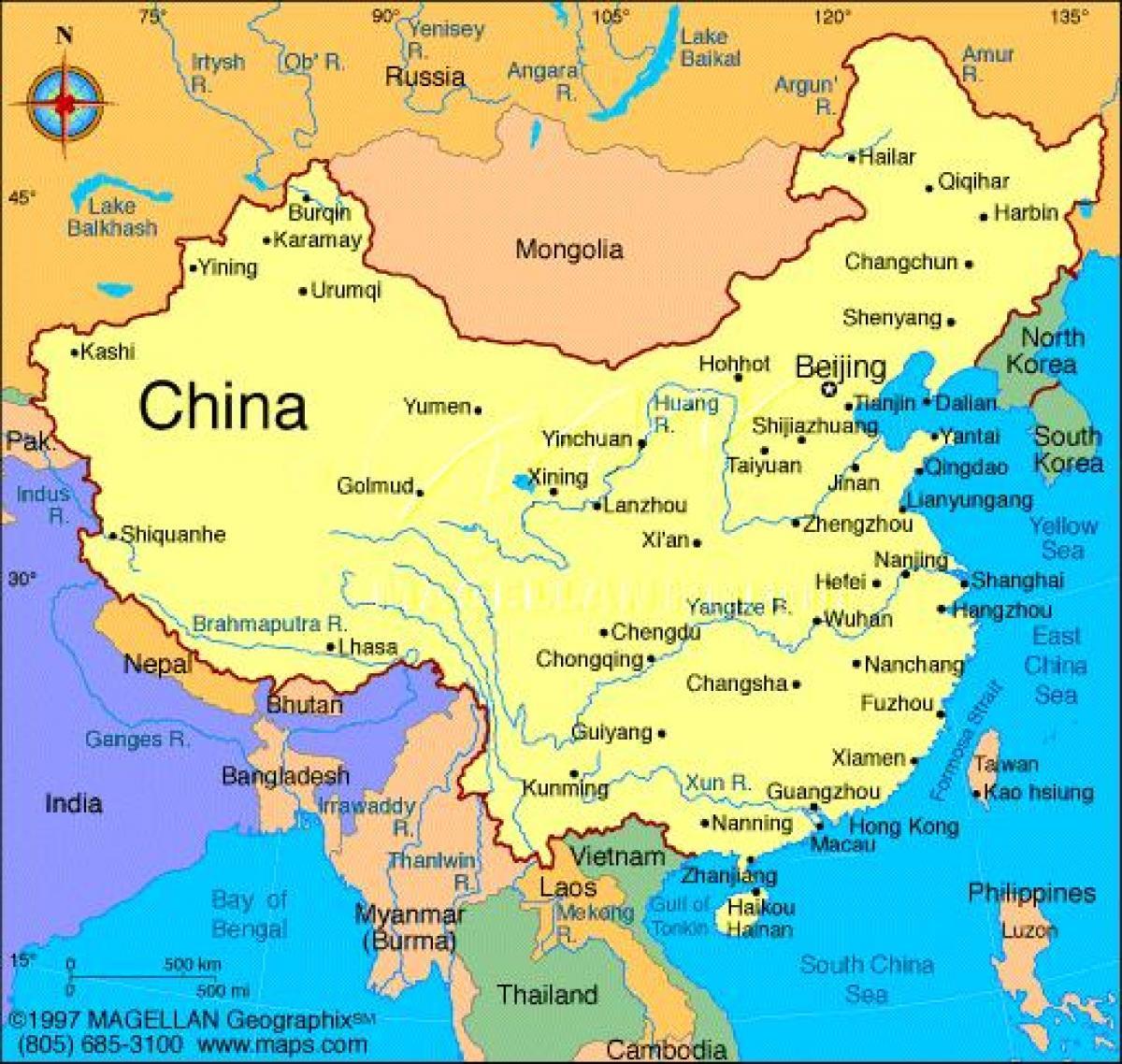 Detaljeret Kort Over Kina Kina Detaljeret Kort Ostlige Asien