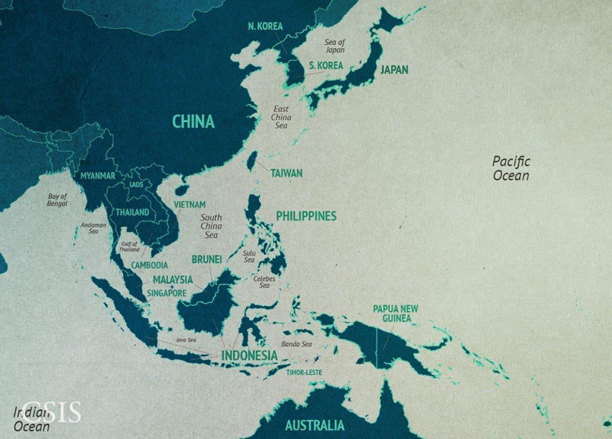 Kina Havet Kort Kort Over Kina Havet Ostlige Asien Asien