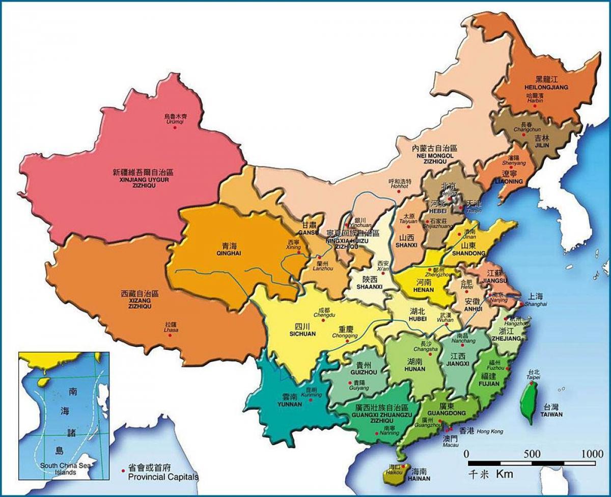 Kina Kort Provinser Kort Kina Provinser Det Ostlige Asien Asien