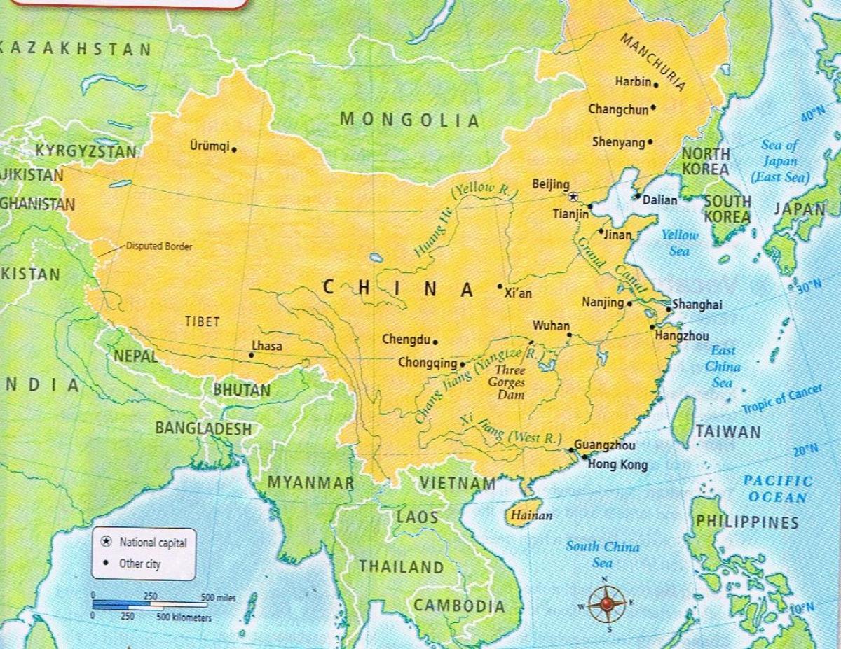 Kinas Graense Kort Kort Over Kinas Graense Det Ostlige Asien Asien