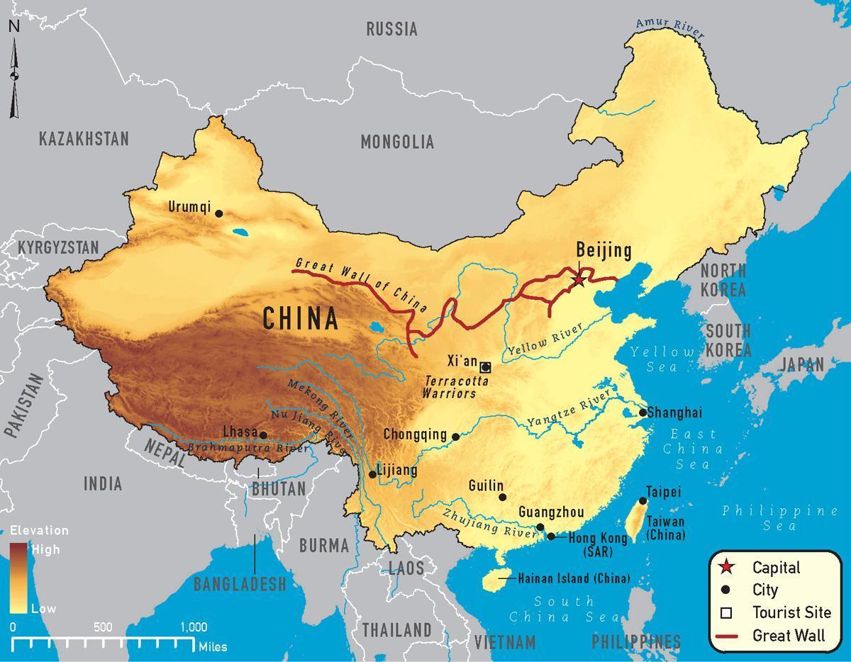 Kort Over Kina Floder Kina Kort Over Floder Ostlige Asien Asien