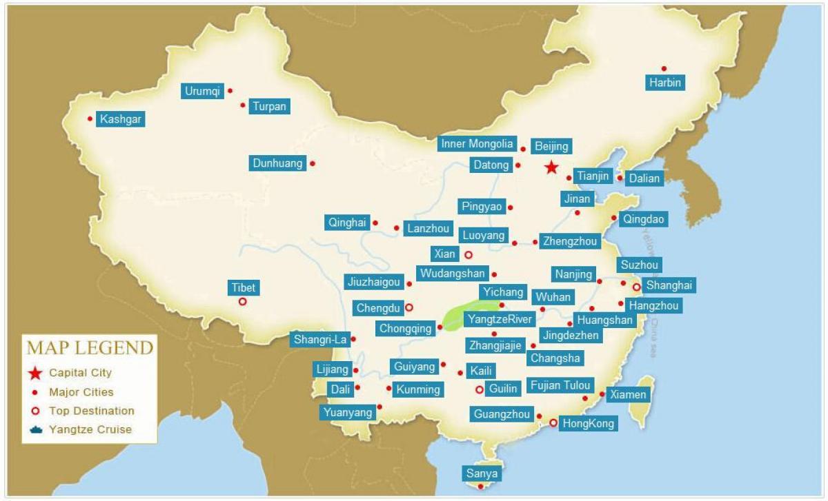 Kort Over Kina Med Byer Kina Kort Med Byer Ostlige Asien Asien