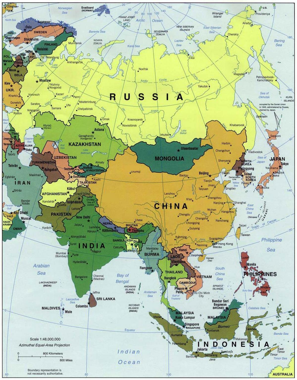 Kort Over Kina Og De Omkringliggende Lande Kina Og I De