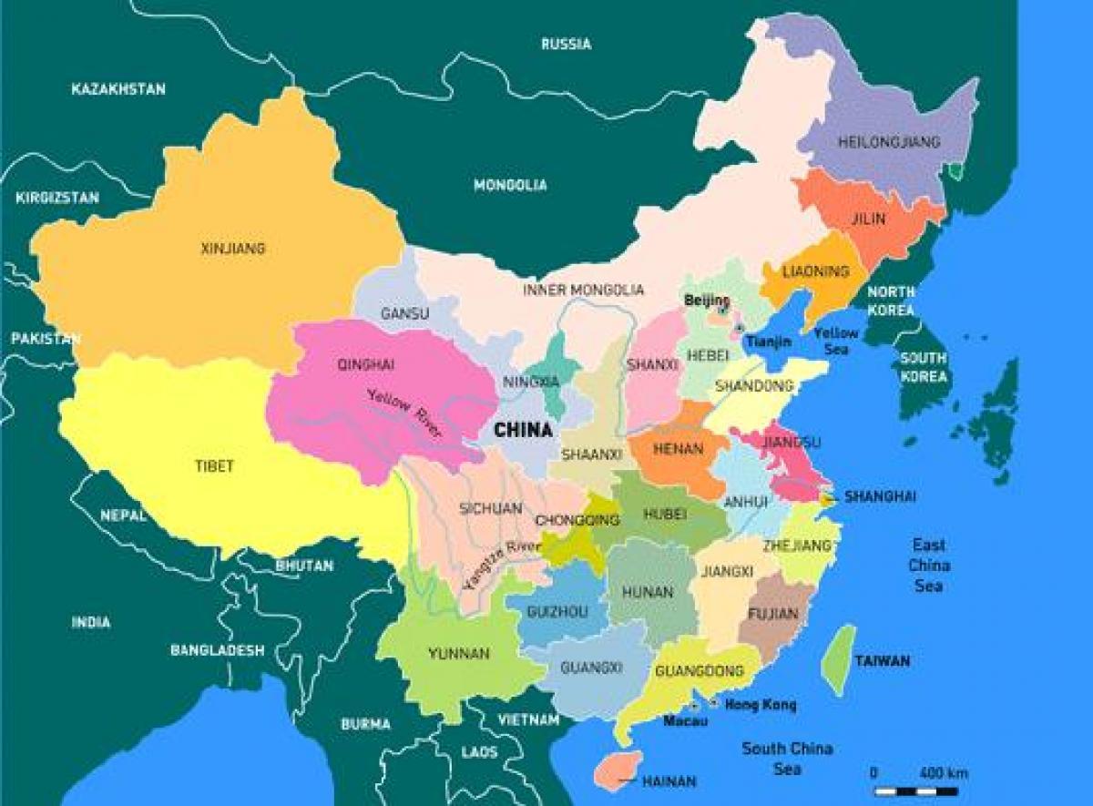 Kort Over Kina Provinser Kina Kort Med Provinser Det Ostlige